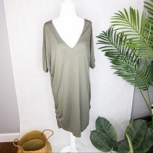 Boohoo Olive V Neck Shirt Short Sleeve Midi Dress